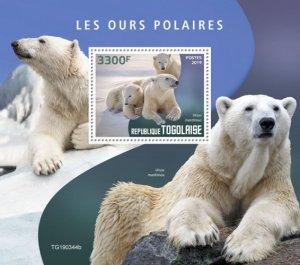TOGO - 2019 - Polar Bears - Perf Souv Sheet - MNH