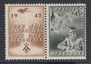 Belgium Sc B331 MNH. 1942 Prisoners of War Assistance with label