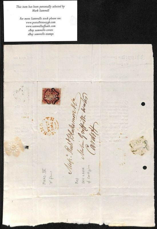 GB WALES MARITIME Letter Barrow-Cardiff IRON ORE CARGO 1841 MX Cover SG.7 MS1836