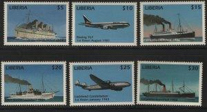LIBERIA, MNH, (6) SET, SHIPS AND AIRPLANES
