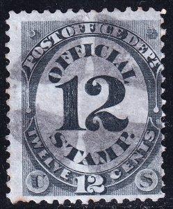 US STAMP BOB #O52 – 1873 12c black, post office used  stamp