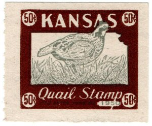 (I.B) US Revenue : Quail Hunting Stamp 50c (Kansas)