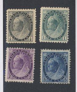4x Canada Numeral Stamps #74-1/2c #75-1c #76-2c #79-5c Guide Value = $180.00