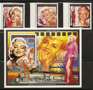 Burkina Faso 1012-5 1995 Marilyn Monroe set and s.s. NH