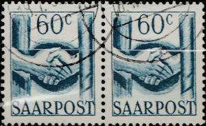 SARRE / SAARLAND - 1948 - pair 2xMi.240 60c handshake - VFU