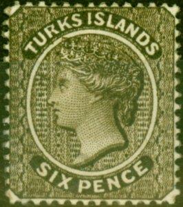 Turks Islands 1881 6d Olive-Black SG51 Fine Mtd Mint