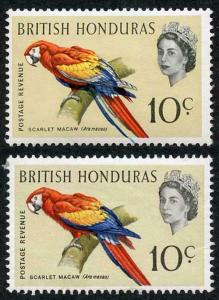 British Honduras SG207 1962 10c Bird with BLUE SHIFT U/M