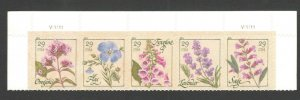 4505-09 Herbs Top Strip Of 5 With Plate Numbers Mint/nh (Free Shipping)