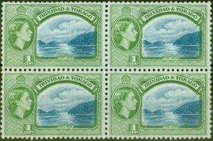 Trinidad & Tobago 1959 1c Blue & Bluish Green SG267a V.F MNH Block of 4