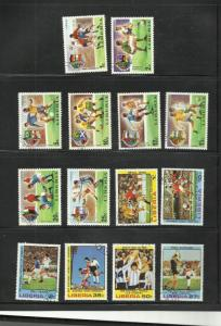 LIBERIA STAMPS ( sheets of 25)  scott 675-82 820-5 FOOTBALL SETS SOCCER 132 2015