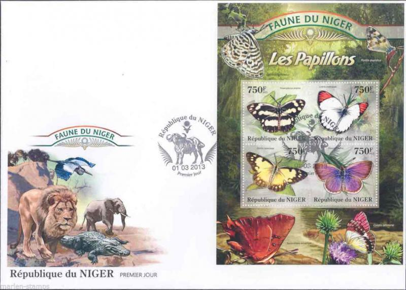 FAUNE OF NIGER 2013 BUTTERFLIES SHEET  FIRST DAY COVER