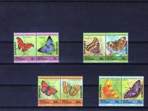 Tuvalu Vaitupu BUTTERFLIES (4) Pairs Ovpt. Specimen Perforated Mint (NH)