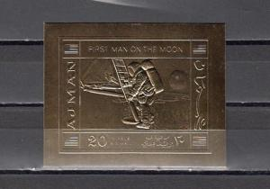 Ajman, Mi cat. 514 B. First Man on the Moon, IMPERF GOLD FOIL.