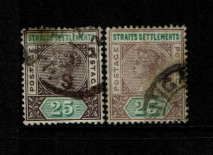 Straits Settlements SG# 103 & 103c Used (See Notes) - S7501