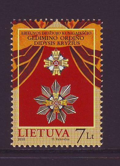 Lithuania Sc 930 2010 Grand Cross Gediminas stamp mint NH