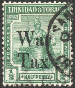 TRINIDAD & TOBAGO-1917 ½d Pale-Green War Stamp Sg 179a FINE USED V46175