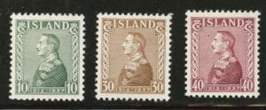 ICELAND Scott 199-201 MH* 1937 Christian X set CV$6.90