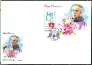SAO TOME 2013 POPE FRANCIS SOUVENIR SHEET  FIRST DAY COVER