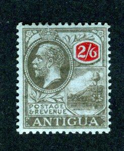 Antigua 1921 KGV. 2/6d blk & red/blue. Mint. MC CA SG59