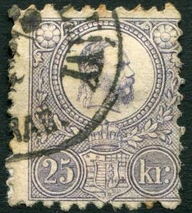 HUNGARY-1871 25k Lilac Sg 13 FINE USED V20958