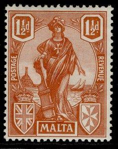 MALTA GV SG127, 1½d brown-red, LH MINT.