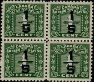 CANADA Excise stamp MNH block of 4  FX104..................................48250