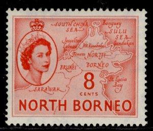 NORTH BORNEO QEII SG377, 8c scarlet, M MINT.