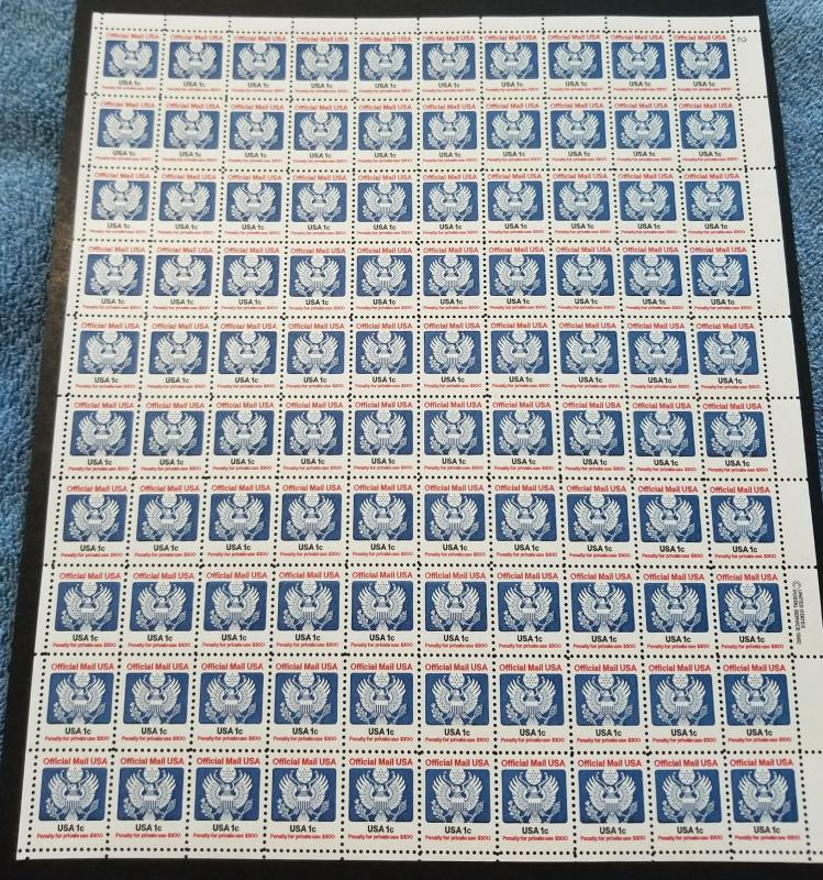 US #O127 SHEET, 1c sheet of 100, VF mint never hinged, nice and fresh, FULL S...