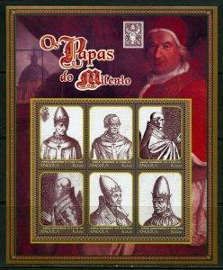 ANGOLA  POPES OF THE MILLENNIUM  SHEET II  MINT NH