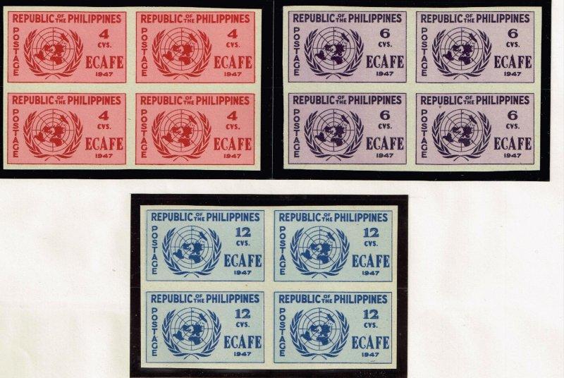 Philippines Stamp  1947 Conference Issue 6-12c MNH/OG stamp BLK OF 4  IMPERF SET