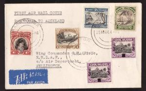 Cook Islands, 1944 first air mail cover Rarotonga to Auckland     -BN41