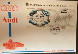 O) 1999 SAN MARINO, AUDI AUTOMOBILES, ROULETTER, ISSUE, WITH ATTACHED ENTRY FOR