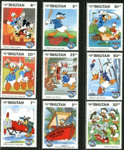 BHUTAN Sc#460-470 1984 Disney Donald Duck's 50th Complete Set & 2 S/S OG Mint NH