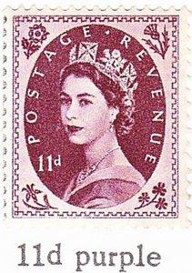 GREAT BRITAIN 1954 QEII 11d Brownish-Purple 'Tudor Crown' WM SG528 MH
