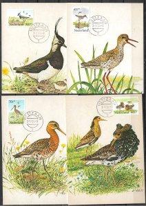 NETHERLANDS STAMPS, 1984, SET OF 4 MAXI CARDS MC MAXIMUM CARDS BIRDS