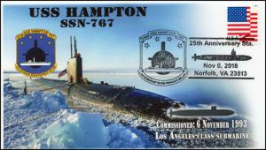 18-383, 2018, USS Hampton, SSN-767, Pictorial Postmark, Event Cover,