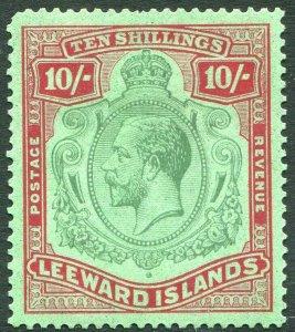 LEEWARD ISLANDS-1928 10/- Green & Red/Green Sg 79 blunt corner perf  AMM