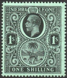 SIERRA LEONE-1912-21 1/- Black/Green Sg 124 LIGHTLY MOUNTED MINT V42963