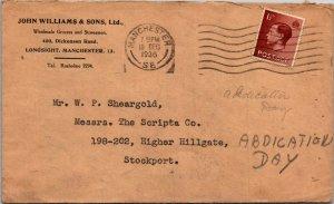 Manchester UK > Stockport Edward VIII stamp mailed abdication day 1936