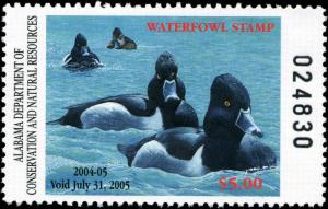 ALABAMA #26 2004 STATE DUCK RING NECK DUCK by Clarence Stewart