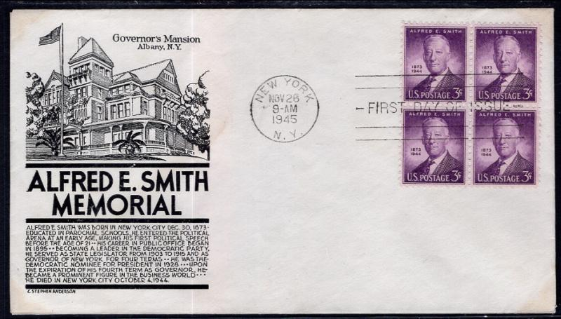 US 937 Alfred E Smith Block of Four C Anderson Black U/A FDC