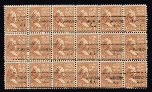 US STAMP # 805 – 1938 Martha Washington 1-1/2c MNH/OG PRECANCEL BLK OF 18