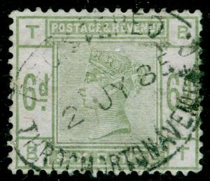SG194, 6d dull green, USED. Cat £240. BT