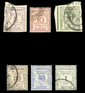 Zanzibar 1936 KGV Postage Due set complete very fine used. SG D24-D30.