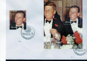 Turkmenistan 1998 Kennedy-Sinatra Set + s/s Perforated in official FDC