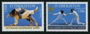 Uzbekistan 731-732,MNH. 2013 Summer Universiade,Youth Games.Judo,Fencing.