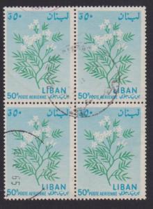 Lebanon Airmail # C396 , Jasmine Flower , F-VF used Block of 4 - I Combine S/H