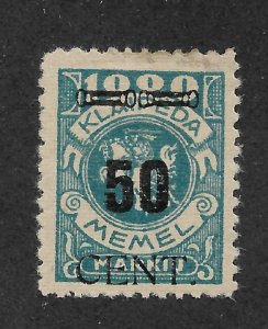Memel 1923 Under Lithuanian Occupation 50c on 1000m Scott # N58,VF Mint Hinged*