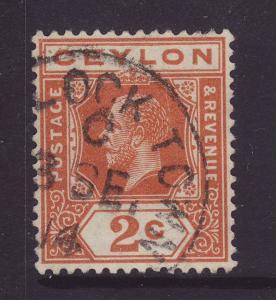 1912 Ceylon 2c Wmk Mult Crown CA ?Lock Town CDS