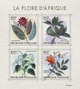 TOGO - 2021 - African Flora - Perf 4v Sheet - Mint Never Hinged